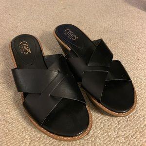Chaps wedge sandals black sz 8